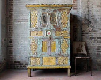 Colorful Cabinet Large Antique Indian Cupboard Distressed Turquoise Purple and Gold Moroccan Interior Turkish Inspired Global Boho Decor