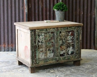 Trunk Side Table Chippy Cream Green Chest Salvaged Wood Planks and Iron Reclaimed Antique Door Indian Furniture