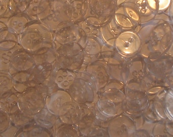 Vintage Clear Button Two and Four Holes Lot of 25