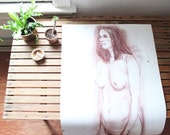 vintage original nude sketch, large scale