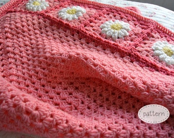 PATTERN - Daisies on the Edge - Bubblegum Pink Daisy Flower Patchwork Granny Square Afghan Blanket Pattern