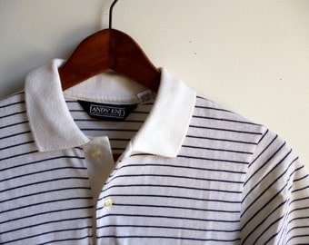 Vintage Lands End Striped Polo Shirt Mens S