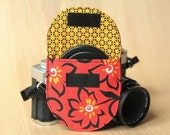 Camera Lens Cap Pocket - holds up to 67mm - Red with Wild Flowers - Ready to Ship