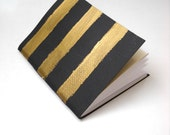 Gold Stripey Notebook, Black and Gold Notebook, Hand Painted Notebook, Gold Striped Notebook