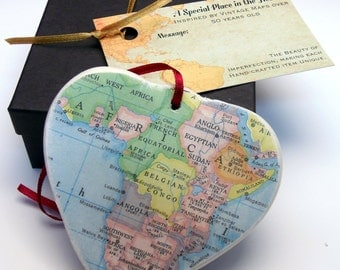 Africa Map Christmas Ornament, Your Special Place in the Heart / HONEYMOON Gift / Wedding Map Gift / Travel Tree Ornament /