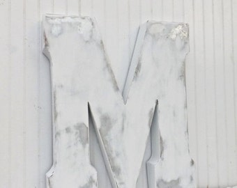 Large Metal Letter / Decorative Letter / Capital Letter / Large Letter M / Shabby Chic Letter / Rustic Letter