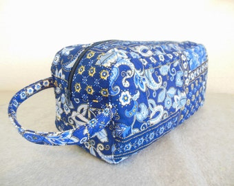 Shoe Carrier or Toiletry Bag -- Quilted Blue Paisley