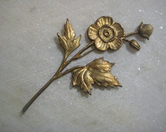 Vintage Flower Branch Brass Stamping: French Brass, Detailed Trim, Decoration, Jewelry Finding, Altered Art Supply, 55mm, 1 pc.