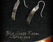 Sterling Silver Earrings - Loop and Swirl Earrings - Boho Earrings, Rustic Earrings