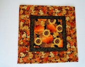 Quilted Fall Table Topper with Sunflowers and Pumpkins, Autumn Quilted Table Runner, Table Quilt, Fall Leaves Runner, Thanksgiving Decor