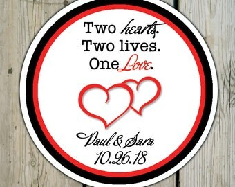Round Custom Heart Favor Labels / Heart Stickers - Double Hearts Wedding Favor Stickers / Heart Shower Labels / Anniversary Stickers