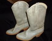 Grey Stitched Vintage 1970's Men's DINGO Western Cowboy Boots 10.5