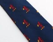 Vintage 50's Tie Necktie Blue with Red Lion Pattern Charvet et fils