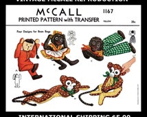 Fabric Material Sewing Pattern McCALL # 1167 4 Cute Bean Bag Toy Vintage 1950's Reproduction / Copy Black Girl Boy Doll Monkey China Boy Sew