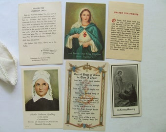 Vintage Holy Cards Prayer Cards Catholic Religious Picture Mary Jesus Family Immaculate Heart of Mary In Memory Pray Priests Prayer Bookmark