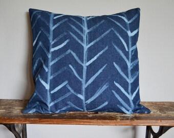"Blue Arrow Decorative Pillow - Denim Pillow Cover - Tribal, Chevron, Southwestern Pillow - Blue Throw Pillow - 16 x 16"" Pillow Cover"