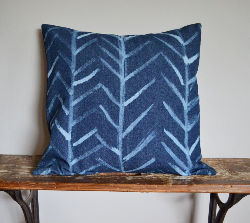 Decorative Denim Pillows : Blue Arrow Decorative Pillow Denim Pillow Cover Tribal