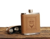 Bearded Fellow // Leather Flask Gift Set // 3 Shotglasses