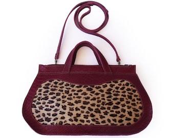 Leopard print cow hide purse, Burgundy handbag, Cranberry women's purse, cross body purse,