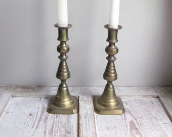 English Brass Candlesticks