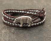 Silver Hippo Bracelet Hematite Beaded Leather Hippo Jewelry