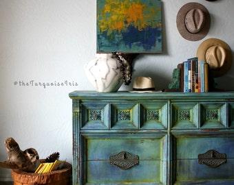 Oh My Goodness Me - Stunning Destin Gulf Green Dresser / Buffet / Console / Cabinet