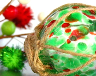 Hand Blown Glass Christmas Ornament Classic Fish Buoy Ball Orb Sphere Bauble Transparent Green Speckled Colorful Multi Color Mix Hues Pyrex