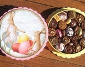 Miniature Box of Chocolates 12th Scale Polymer Clay Bunnies Easter Eggs Dollhouse Miniature