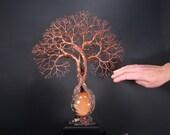 Harvest Moon Selenite Sphere, wire Tree Of Life sculpture, handmade unique tree lamp, LED wood light base, original art gift idea home decor