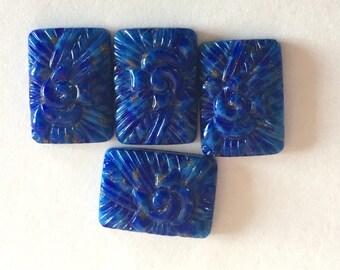 BWB Lovely Luscious Lapiz Blue Geo Deco Floral Rectangle Vintage Glass Cab  17x12mm    (1pc)