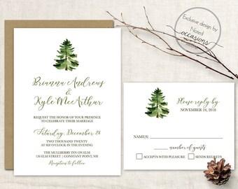 Winter Wedding Invitation Set Rustic Wedding Invitations Christmas Wedding Printable Rustic Wedding Woodsy Pine Tree Digital Template RSVP