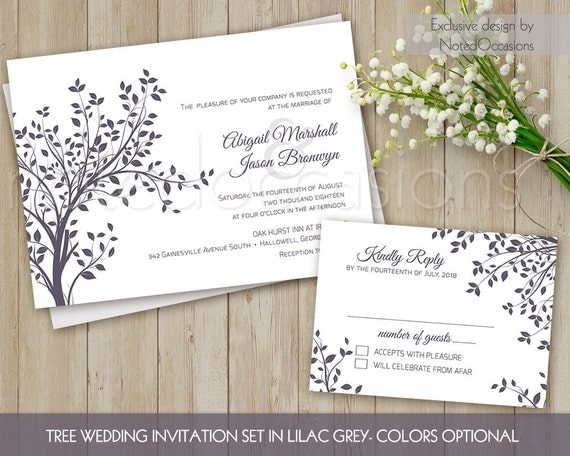 Wedding invitation printable tree wedding by notedoccasions for Free printable tree wedding invitations