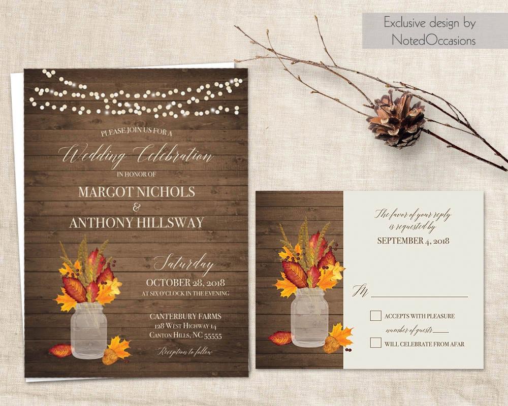 Fall Wedding Invitations Printable Set Rustic By
