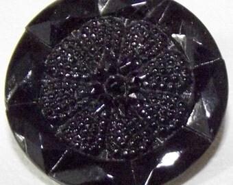 Antique Button Large Victorian Lacy black glass Faceted Edge Center Flower