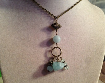 Aquamarine Necklace - Aquamarine Jewelry - Pendant - March Birthstone -Brass Jewelry - Gemstone Jewellery - Beaded - Fashion - Chain