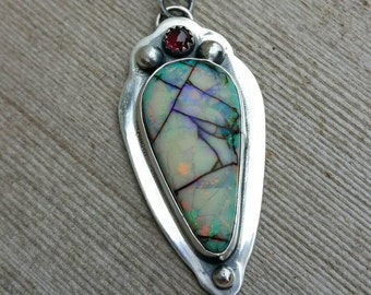 Beautiful Monarch Opal and Garnet Necklace