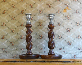 "Antique Pair Candesticks English Oak Barleytwist Wood w Silvertone Metal 9 3/4"" Tall"