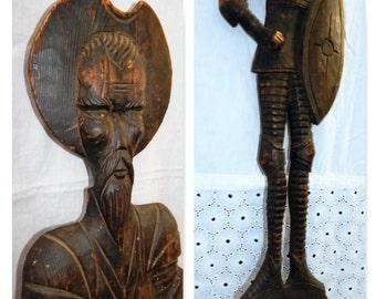 Vintage Wooden DON QUIXOTE~Spanish Conquistador~Huge Carved Fork~Ingenious Gentlemen