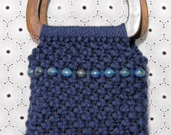 DISCOUNTED Vintage Handmade Knitted Wool Wooden Bead Purse~ 70s FLARE ~ Wooden Handled Hanbag ~Mint Condition