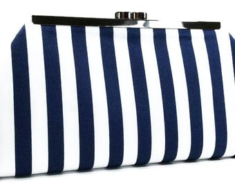 Clutch Purse - Navy and White Stripe Clutch Purse Wedding Clutch Beach Wedding Bridesmaids Gift