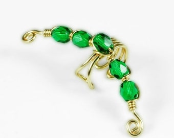 Summer Sale - 10% off - Gold Ear Cuff with Emerald Green Glass Beads
