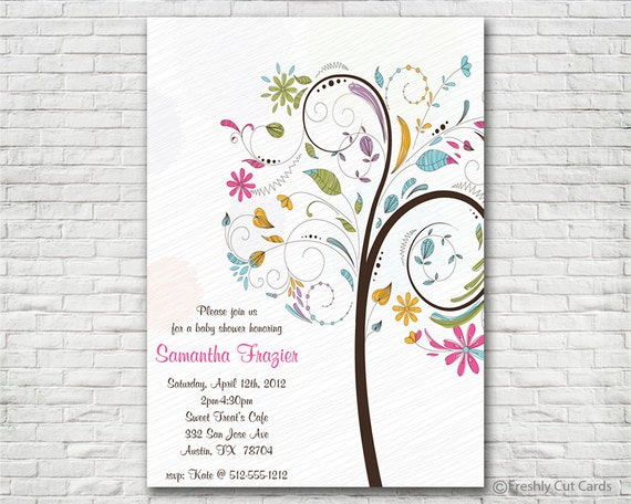Colorful Baby Girl Shower Invitation - Printable or Printed (w/ FREE Envelopes)