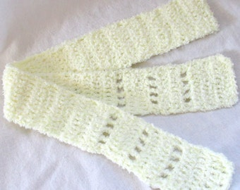 Light Yellow - Lightweight Stylish Scarf - Super Soft and Fuzzy - Hand crocheted