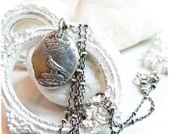 Wax Seal Jewelry, DIGNITY + ACCOMPLISHMENT Talisman Wax Seal Necklace,  Nevermore British Crown  ~ Iconic 1800's British Image ~  Jewellery