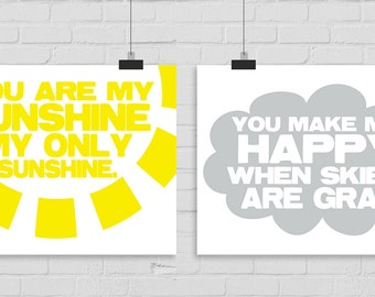 You Are My Sunshine Wall Art. INSTANT DOWNLOAD. You Make Me Happy Wall Art. Children Room Wall Art, Nursery Wall Decor. Nursery Art