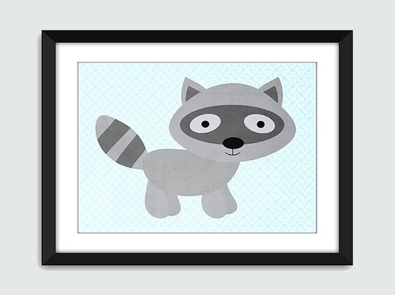 SET OF 4 Forest Friends Bear Fox Owl Raccoon Wall Art - 5x7 Customize Your Background Wall Print Poster
