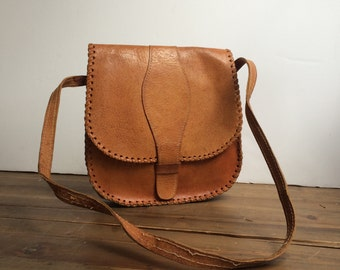 Moroccan Leather Saddlebag Vintage 1980's Sienna Brown Leather Stitching Satchel