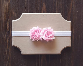 Pink Flower Headband, Baby Headband, Newborn Headband, Girls Headband, Girls Pink Flower Headband, Photography Prop,