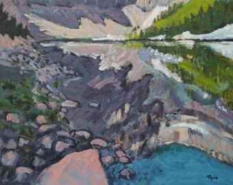 Alpine Lake Reflection - Painting, Original Oil, Mountains, Water, Lake, Reflection, Home Decor, Pine Trees, Rocks, Wall Art