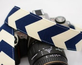 dSLR Camera Strap - Women's Accessories - Camera Strap - Navy and Cream Chevron - gift ideas under 30 - Gift for Photographers